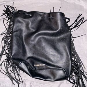 Black pleather backpack
